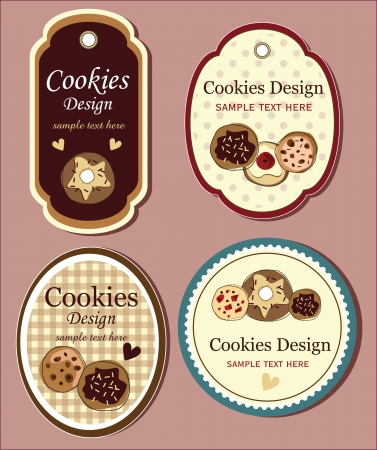 biscuits: chocolate cookie set of banners Illustration