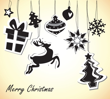 christmas card with black and white elements Stock Vector - 18760211