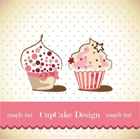cup cakes: Tarjeta de la magdalena Vectores