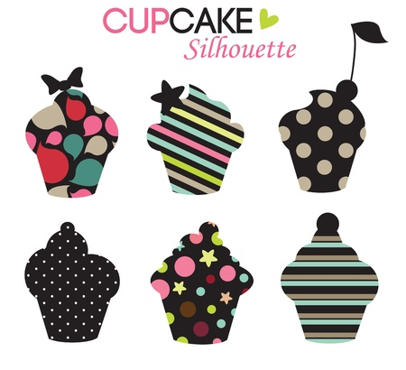 cupcake design,colorful silhouettes Vector