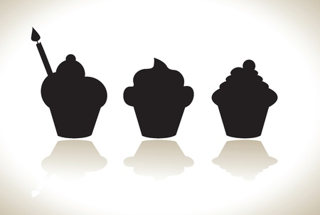 Set of cupcake silhouettes Vector