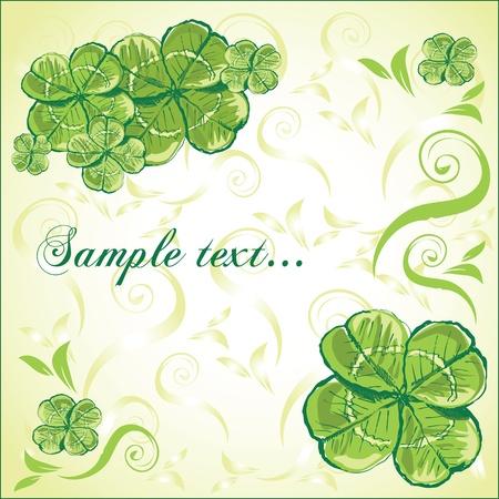 four leaf clover greeting card Stock Vector - 18760374