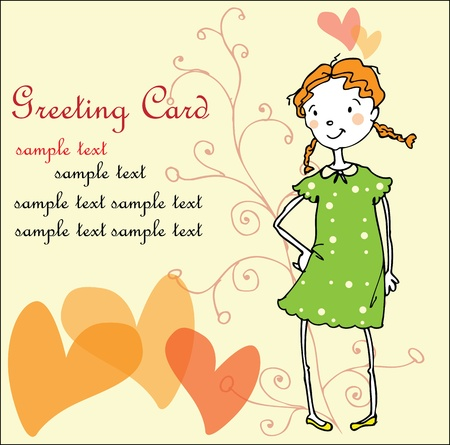 birth day: Greeting card with girl and hearts