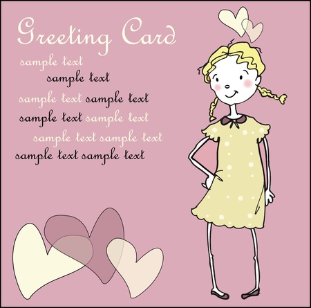 Greeting card with girl and hearts Vector