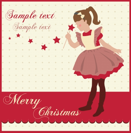 Vintage Christmas Card with a little girl Stock Vector - 18760364