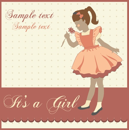 vintage greeting card with a little girl Vector