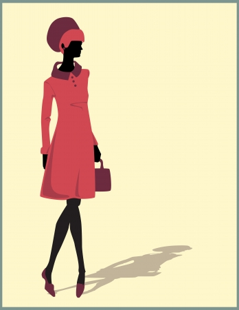 woman silhouette illustration with a bag Vector