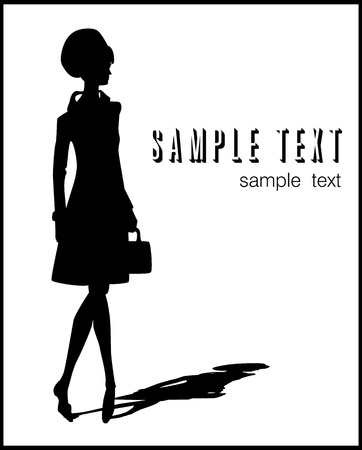 catwalk model: woman silhouette illustration with a bag