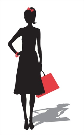 attractive woman: Woman silhouette with shopping bag