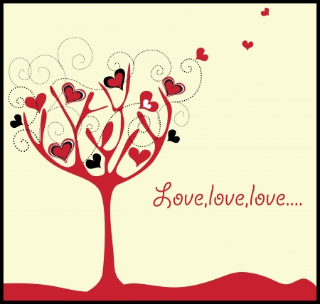 births: valentine card with tree and hearts