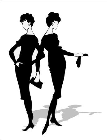 catwalk model: Fancy sagoma d'epoca di due ragazze Vettoriali