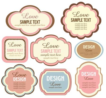 text box design: cute scrapbook set of elements