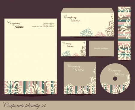 Corporate identity kit or business kit with artistic element for your business includes CD Cover, Business Card, Envelope and Letter Head Designs Иллюстрация