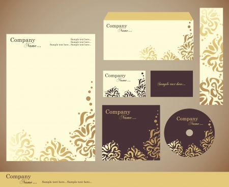 Corporate identity kit or business kit with artistic element for your business includes CD Cover, Business Card, Envelope and Letter Head Designs Illustration