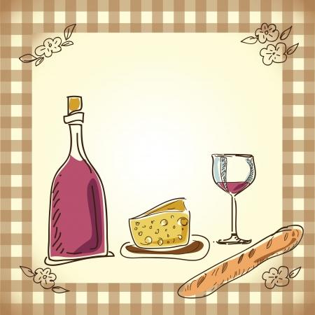 kaas: wijn en kaas menu ontwerp