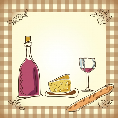 french symbol: wine and cheese menu design