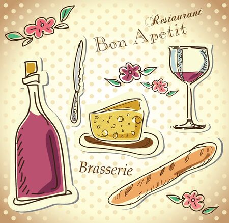 french roll: wine and cheese menu design