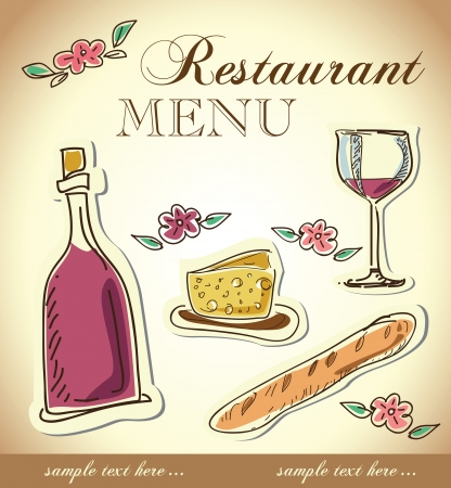wine and cheese menu design Stock Vector - 18794563
