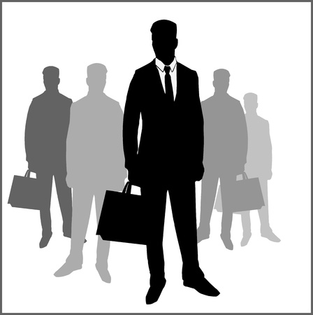 secret agent: Business men silhouettes Illustration