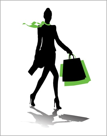 attractive woman: Woman silhouette,shopping bags