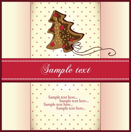 christmas cookie: Christmas card with cookie Illustration