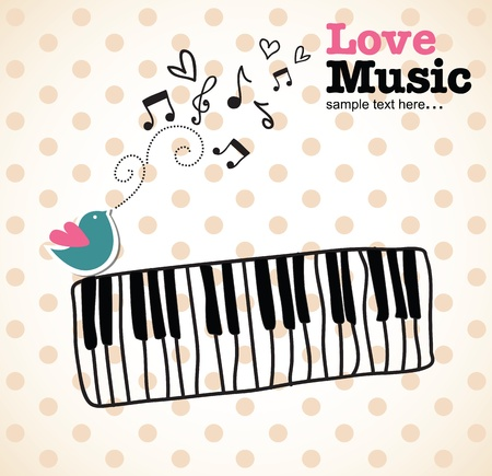 in tune: illustration of a piano and music notes, illustration