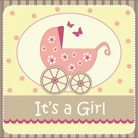 pram: baby girl announcement card