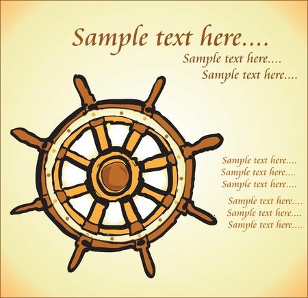 ship wheel: old steering wheel background Illustration