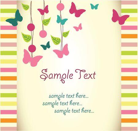 flores de cumpleaños: tarjeta de felicitación floral con mariposa Vectores