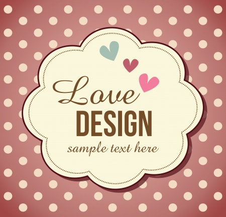 retro,love, greeting card template design Illustration