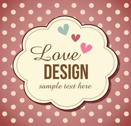 retro,love, greeting card template design Illustration