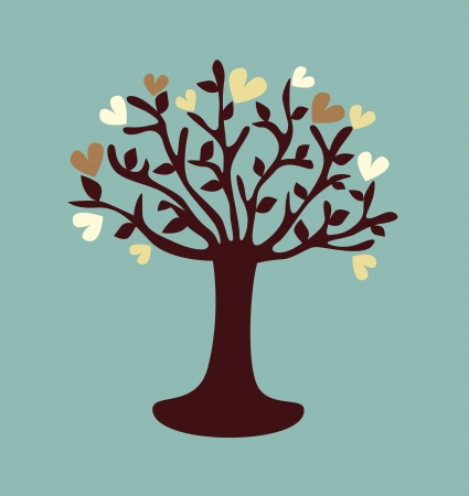 stylized love tree made of hearts Vector