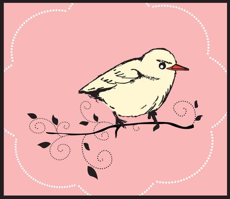 card with hand drawn bird on a branch Vector
