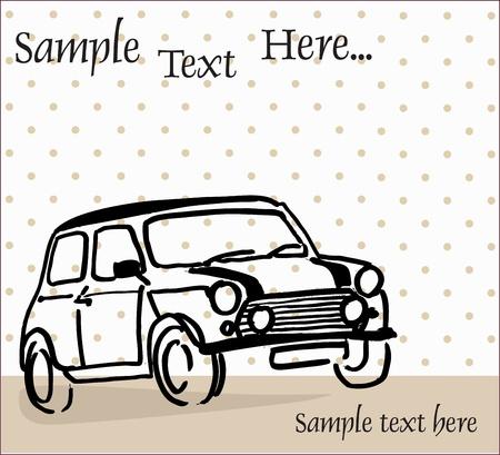 dibujo vintage: mini coche