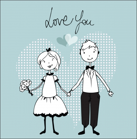 Wedding invitation with bride and groom illustration Vector