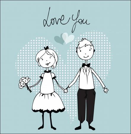 engagement cartoon: Wedding invitation with bride and groom illustration