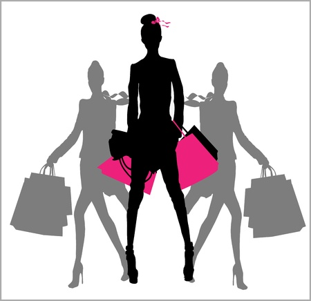 Fashion and Shopping girls Vector