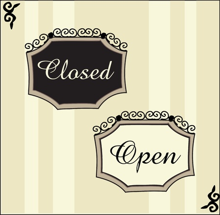 closed sign: Elegant Open and closed signs Illustration