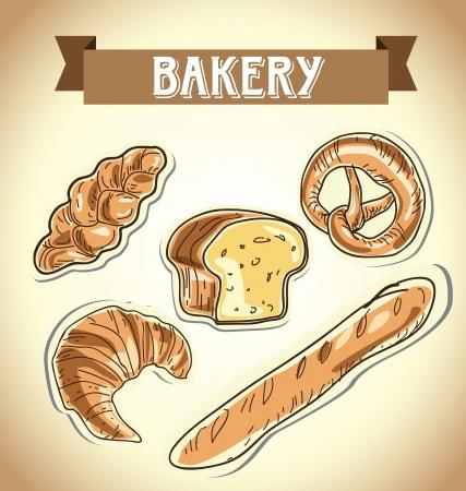 wholemeal: Illustration of classic bread, croissant, chopped bread, croissant, pretzel  bakery icon, vector illustration