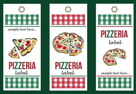 set of pizza labels Vector