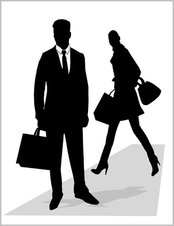 secret agent: man and woman silhouette Illustration