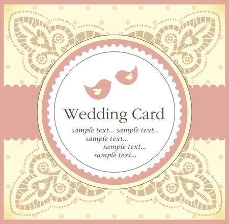 birds  silhouette: wedding invitation card