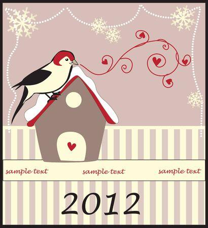 Christmas Card with a little bird Stock Vector - 18893084