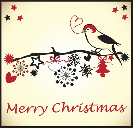 Christmas Card with a little bird Stock Vector - 18893061