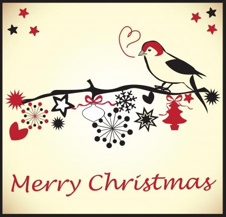 Christmas Card with a little bird Stock Vector - 18893061