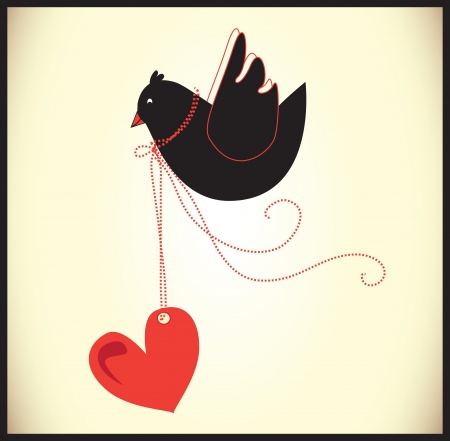 bird and a heart Stock Vector - 18893016