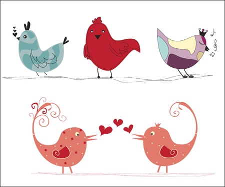 Set of different cute birds  Vector
