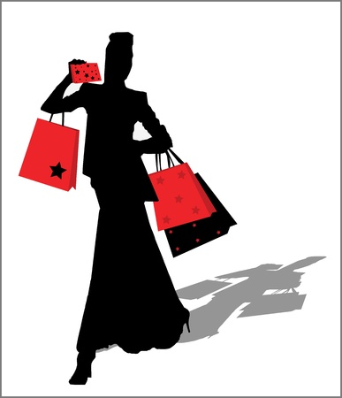 Woman silhouette with shopping bags Vector