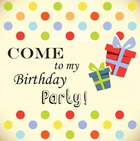 party invitation: fiesta de cumplea�os tarjeta de invitaci�n Vectores