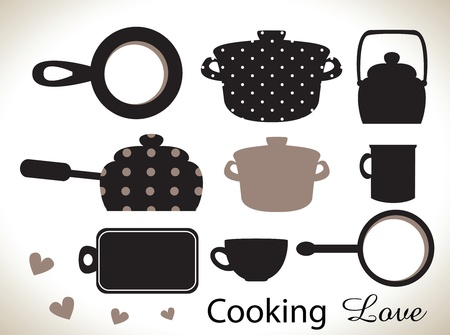 bowel: kitchen utensils silhouettes